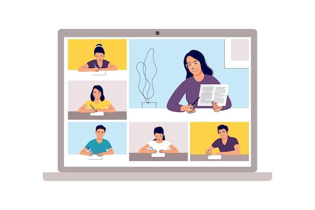 Classe in linea. apprendimento scolastico, teleconferenza studio da casa o videoconferenza web. scuola di emergenza, test universitario o elemento del corso.
