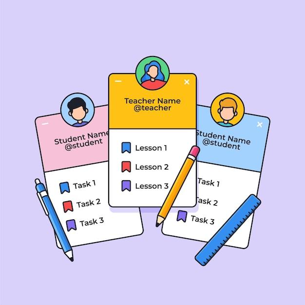 Insegnante di classe online e applicazione del profilo dello studente con l'illustrazione vettoriale degli strumenti degli studenti