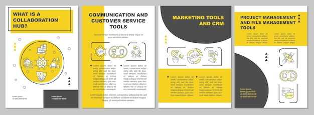 Modello di brochure per la collaborazione online. comunicazione per lavoro. volantino, opuscolo, stampa di volantini, copertina con icone lineari. layout vettoriali per presentazioni, relazioni annuali, pagine pubblicitarie