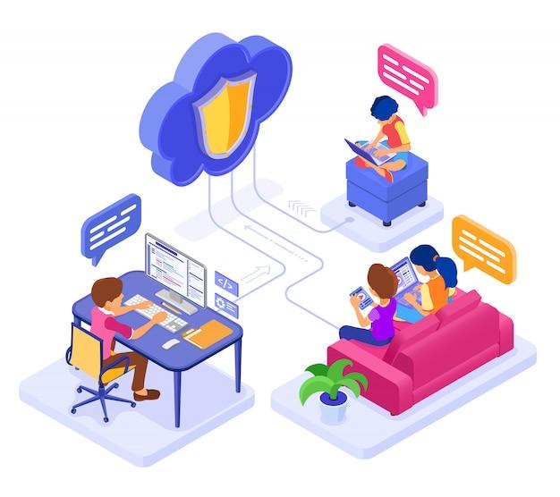Formazione sulla collaborazione online o esame a distanza tramite tecnologia cloud protetta. carattere isometrico lavoro internet corso e-learning da casa. isolato