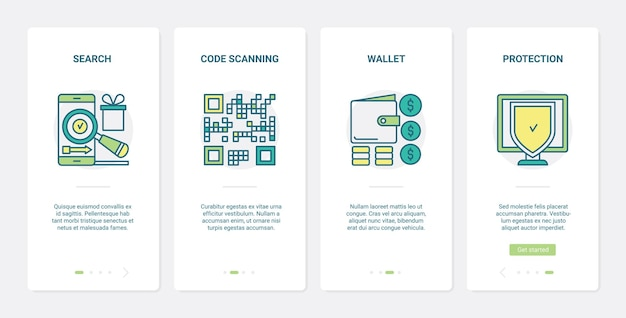 Commercio online, ux per la protezione dello shopping di linea, set di schermate della pagina dell'app mobile per l'onboarding dell'interfaccia utente