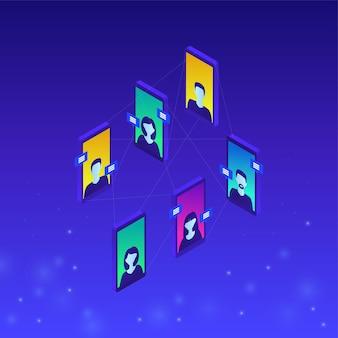 Concetto di comunicazione online in isometrico