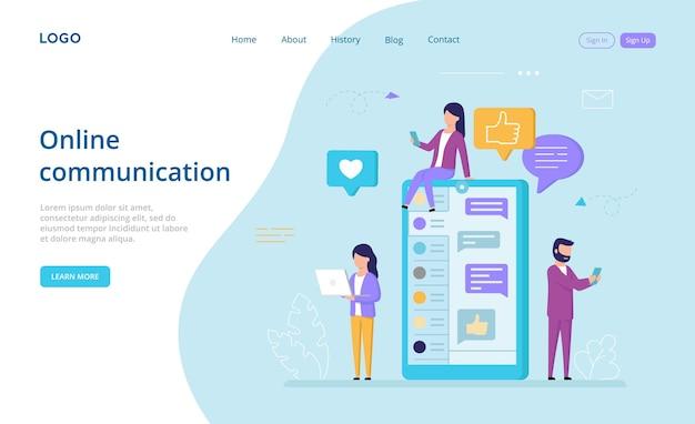 Pagina di destinazione della comunicazione online in stile cartone animato.