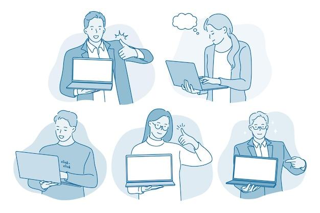 Comunicazione in linea, laptop, concetto di affari