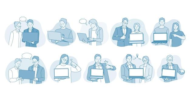 Comunicazione online, laptop, concetto di squadra di affari