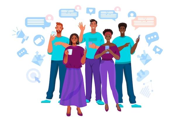 Comunicazione online e illustrazione vettoriale di lavoro di squadra con diverse persone multinazionali