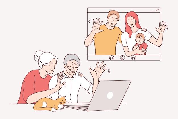 Comunicazione online, videochiamata e concetto di riunione a distanza.