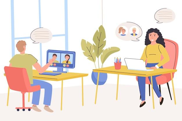 Concetto di conferenza online l'uomo e la donna effettuano videochiamate mentre sono seduti al tavolo con il computer