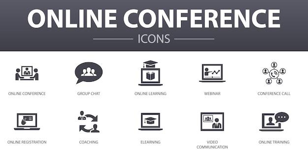 Set di icone di concetto semplice conferenza online. contiene icone come chat di gruppo, apprendimento online, webinar, teleconferenza e altro, può essere utilizzato per web, logo, ui/ux
