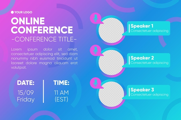 Modello di invito banner webinar conferenza online
