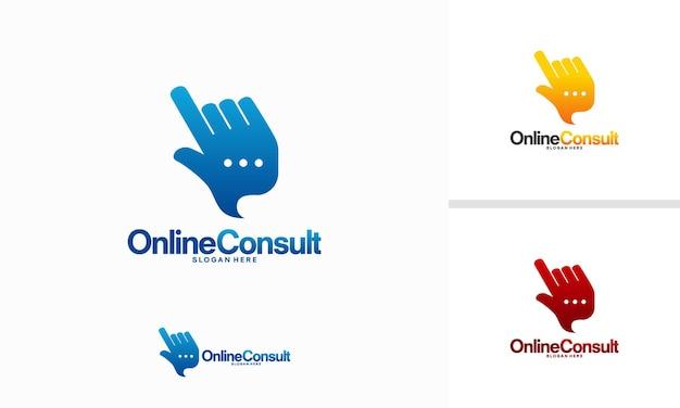 Il logo di consulenza online progetta il vettore di concetto, i disegni del modello di logo di consulenza