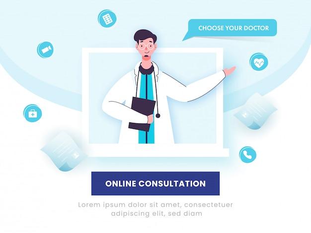 Concetto di consultazione online, dottore man character in schermo del computer portatile ed elementi medici su fondo blu e bianco.