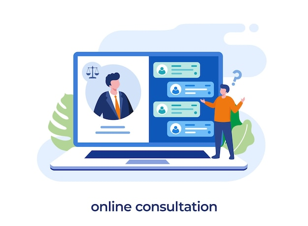 Consulenza online, studio legale e concetto di servizi legali, avvocato, giudizio, illustrazione piatta vettore