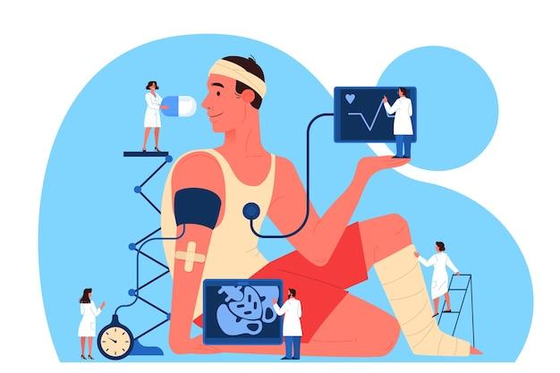 Consultazione in linea con il medico. concetto di farmacia online. cure mediche a distanza su smartphone o computer. servizio mobile. illustrazione