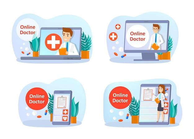 Consultazione online con set medico. cure mediche a distanza su smartphone o computer. servizio mobile. illustrazione piana di vettore isolato