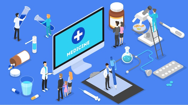 Consultazione online con dottoressa. cure mediche a distanza su smartphone o computer. servizio mobile. illustrazione isometrica