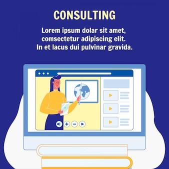 Consulenza online, modello di manifesto piatto di educazione
