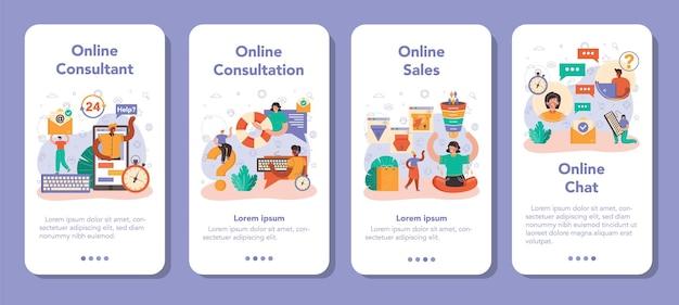 Set di banner per applicazioni mobili del servizio di consulenza online. idea di gestione della strategia e risoluzione dei problemi, ricerca e raccomandazione. illustrazione vettoriale piatto isolato