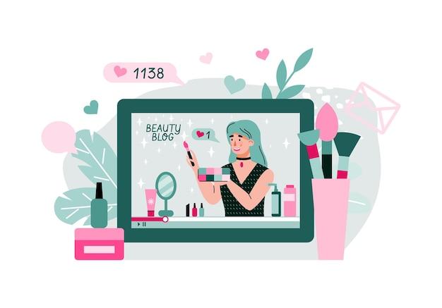 Illustrazione di cartone animato tutorial video di trucco e cosmetici online