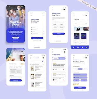 Concetto di design di app mobile della piattaforma di apprendimento del corso online
