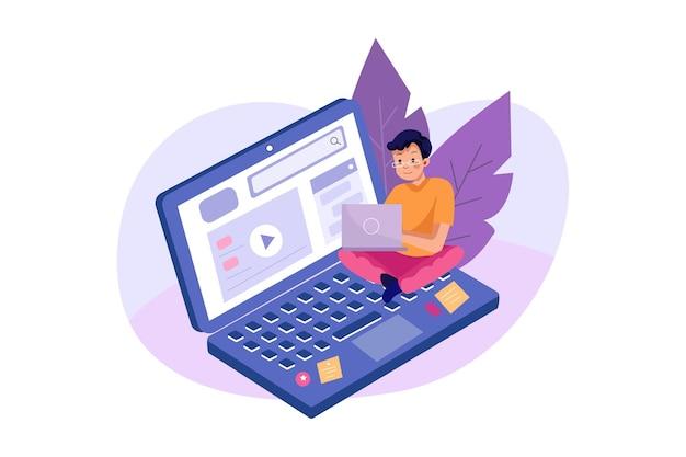 Corso online con un ragazzo che cerca sul laptop