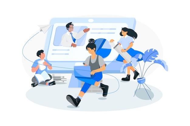 Corso online con persone che si aiutano a vicenda
