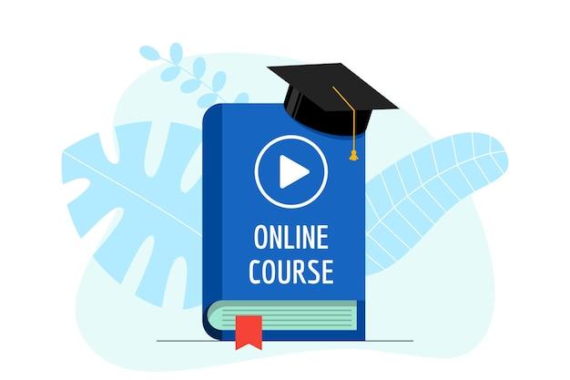 Corso online con insegna video play su libro copertina blu e berretto laurea. cappello dell'accademia sull'istruzione e-learning che studia e sul concetto di webinar di conoscenza dell'insegnamento di internet. illustrazione piatta vettoriale