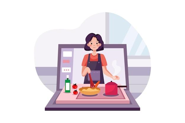 Corso online con una giovane donna di cucina