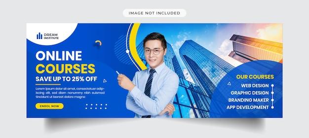 Corsi online che pubblicizzano la copertina di facebook e il modello di banner