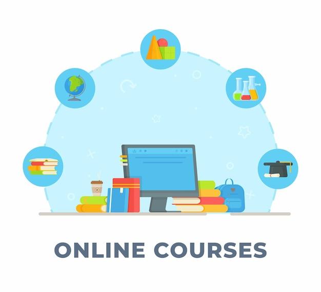 Corsi online. illustrazione dell'apprendimento a casa. facendo i compiti. lezioni.