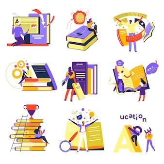 Corsi online in internet, autoeducazione attraverso la lettura di libri. studenti che apprendono nuovo materiale, letteratura e preparazione agli esami. ricerca per diploma, libreria o biblioteca con vettore di pubblicazioni