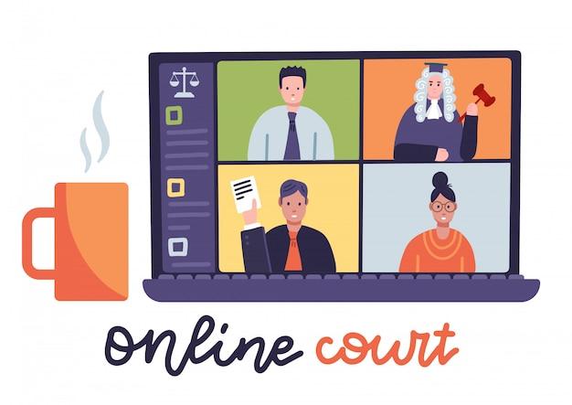 Sessione giudiziaria online con giudice, segretario, procuratore e avvocato sullo schermo del laptop. chat in aula, illustrazione vettoriale piatta. blocco, quarantena distante, giustizia remota.