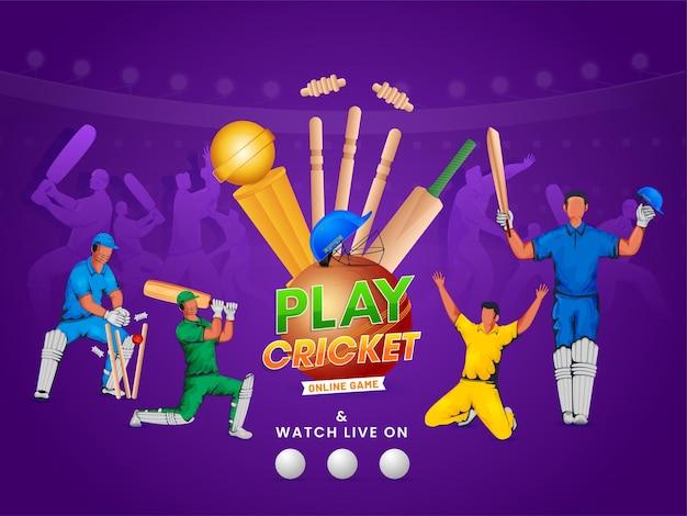Design di poster di gioco di cricket online con giocatori di cricket in azione