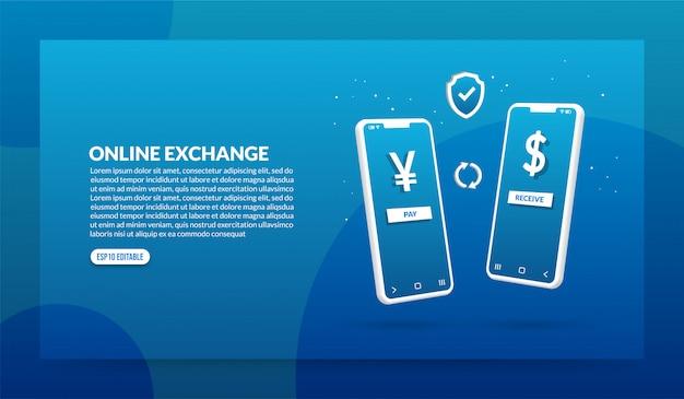 Concetto di cambio valuta online, transazione di pagamento digitale tramite applicazione
