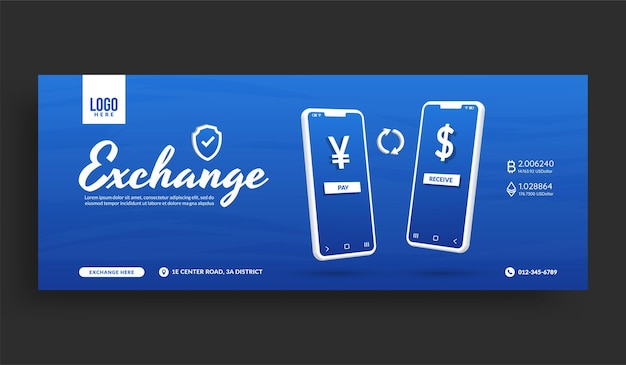 Modello di banner di copertina per social media di cambio valuta online, transazione di pagamento digitale tramite applicazione