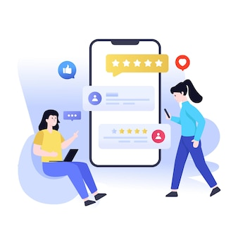 Design piatto dell'illustrazione delle recensioni dei clienti online