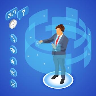 Assistenza clienti online con illustrazione di consulente uomo