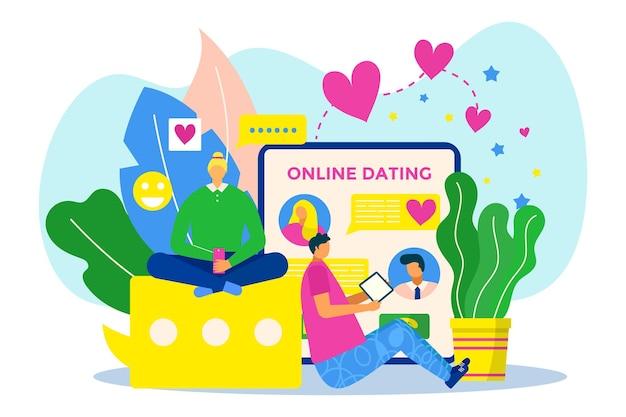 Data online all'illustrazione vettoriale dell'applicazione mobile amore coppia uomo donna personaggio usa smartphone...