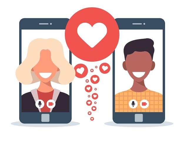 Concetto di app di incontri online con uomo e donna