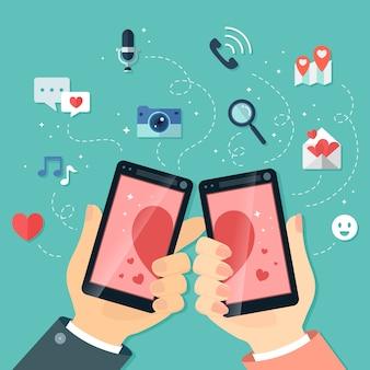 L'illustrazione di design piatto di incontri online trova il tuo amante attraverso i dispositivi