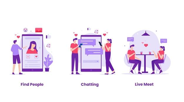 Insieme di progettazione dell'illustrazione di incontri online. illustrazione per siti web, landing page, applicazioni mobili, poster e banner