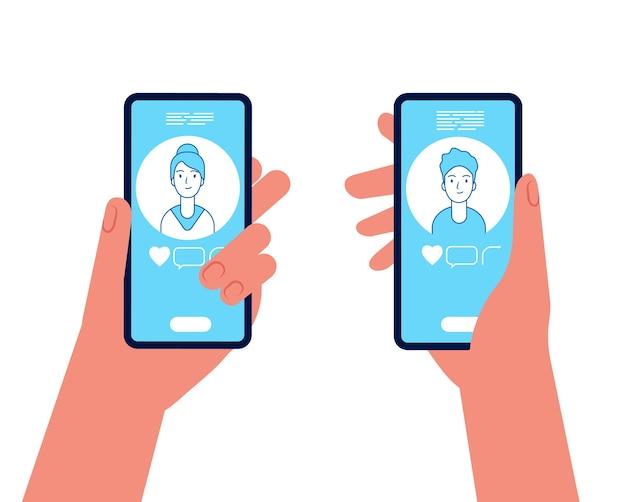 Incontri in linea. uomo e donna che tengono gli smartphone e vedono sullo schermo visualizzare il concetto di vettore di avatar maschili e femminili. app di appuntamenti online per smartphone, illustrazione di uomo e donna di amore