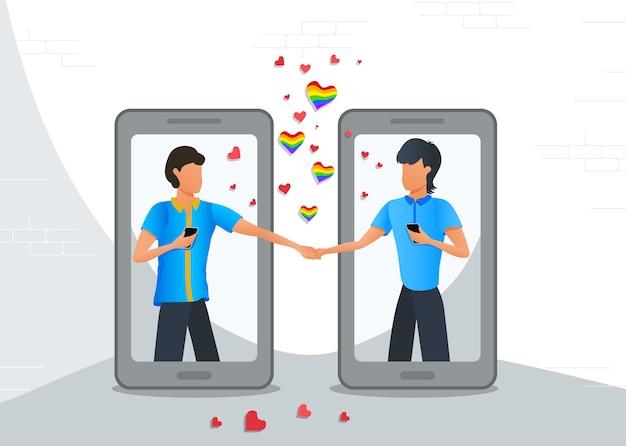 App mobile di incontri online, coppia gay lgbt in relazioni virtuali tramite smartphone
