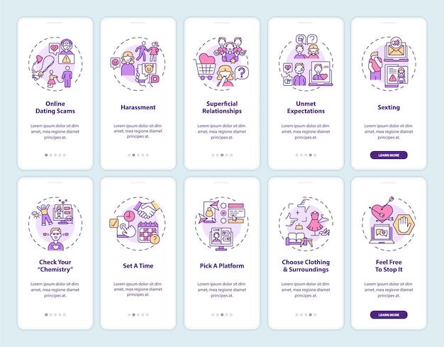 Piattaforma di incontri online onboarding schermata della pagina dell'app mobile con concetti