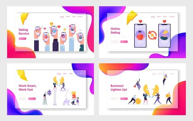 Servizio di appuntamenti online e team aziendale, set di modelli di pagina di destinazione del sito web.