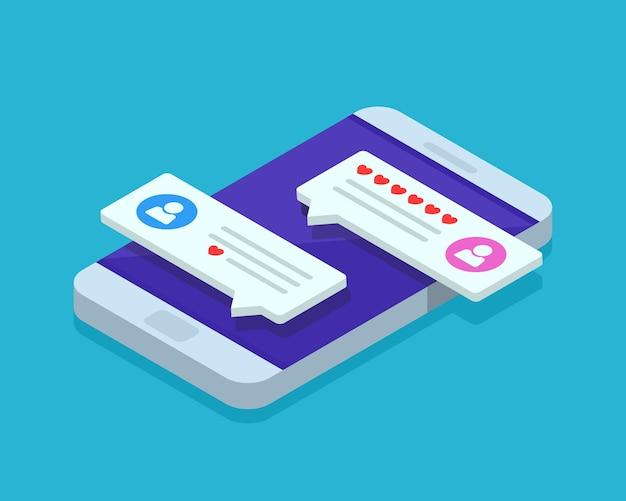 Incontri online e illustrazione isometrica di social networking