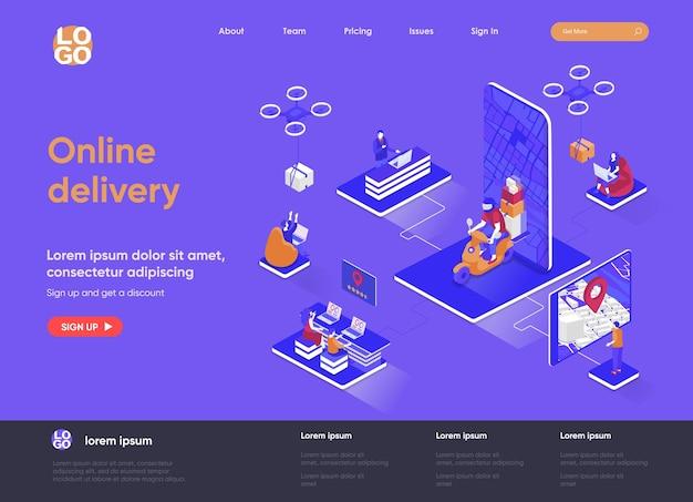 Illustrazione isometrica del sito web della pagina di destinazione di consegna online 3d con i caratteri della gente
