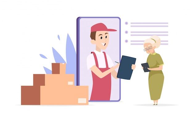Concetto di consegna online. fattorino, donna anziana, pacchi. illustrazione dello shopping online