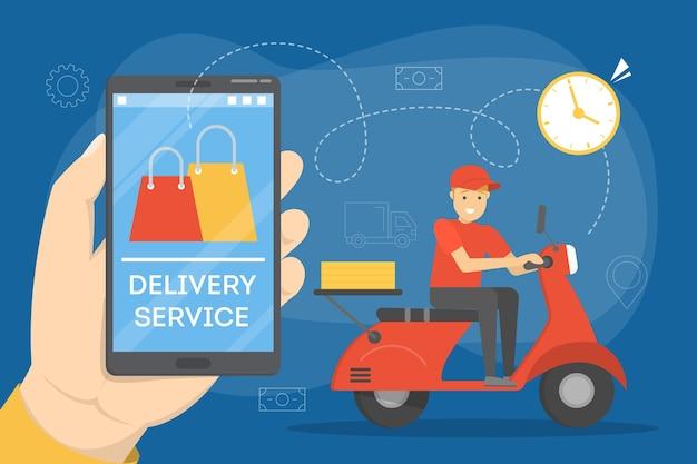 Concetto di consegna online. ordine di cibo in internet
