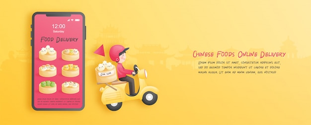 Consegna online dal negozio con ragazzo delle consegne su uno scooter. stile taglio carta. illustrazione.